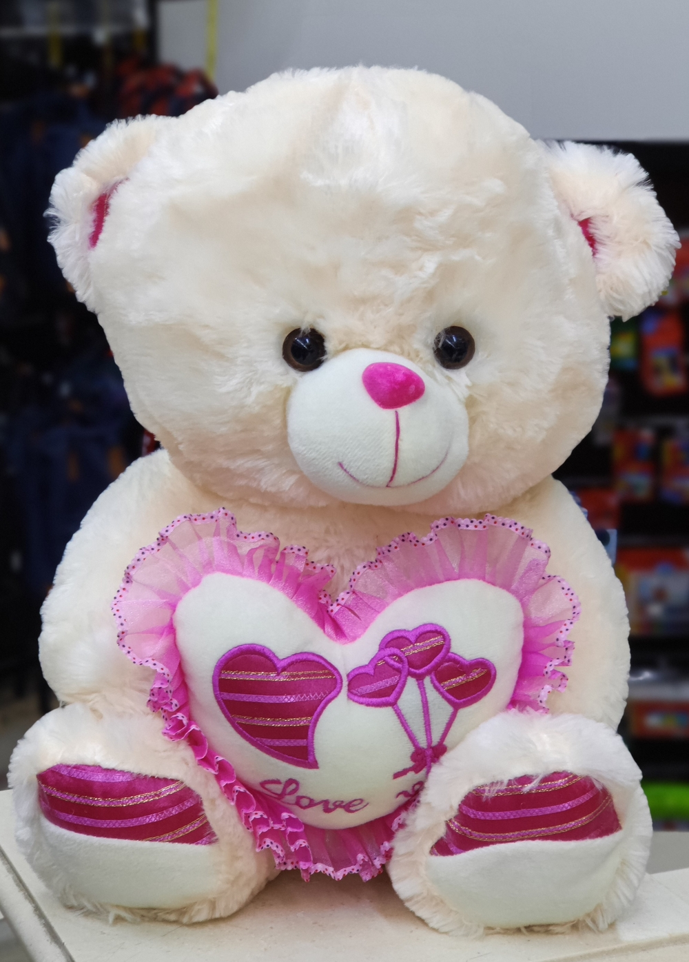 Cream Teddy With Pink Heart(40cm)